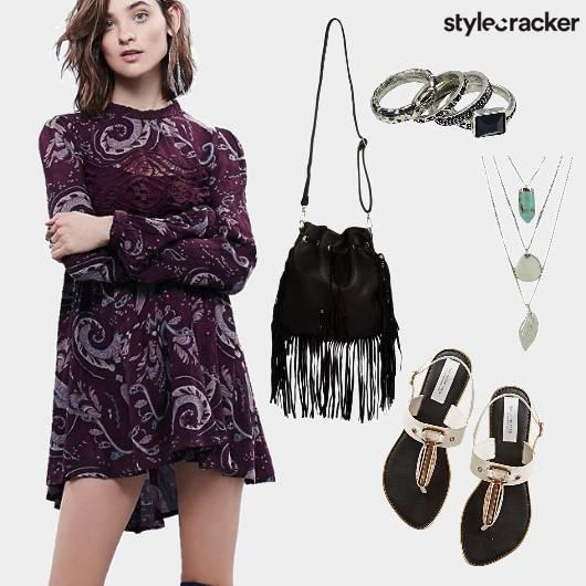 Paisley Dress Fringe Strappy Flats - StyleCracker