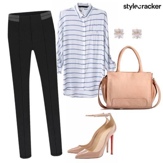 Basicpants Stripedshirt Workwear  - StyleCracker