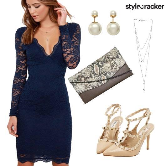 Lace Dress Studs Party Night  - StyleCracker