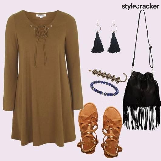 Fringe Laceup Dress   - StyleCracker