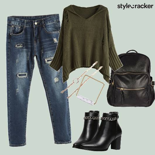 Ripped Jeans Sweater Leather Backpack - StyleCracker