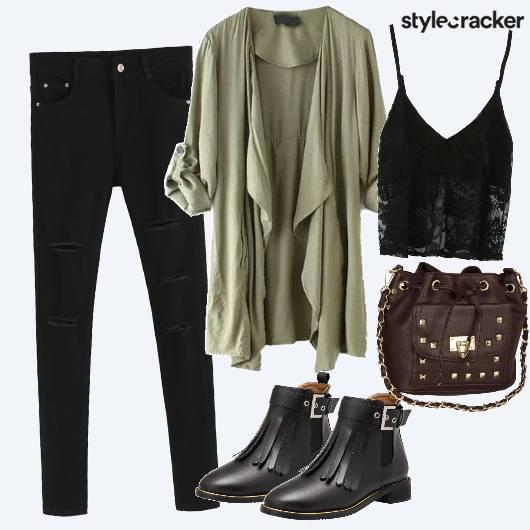 Jeans Lace Boots Studded Slingbag - StyleCracker
