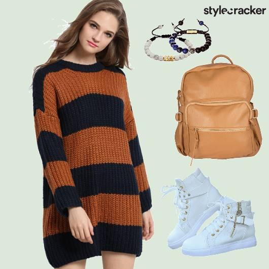 Sweater Dress White sneakers Backpack - StyleCracker