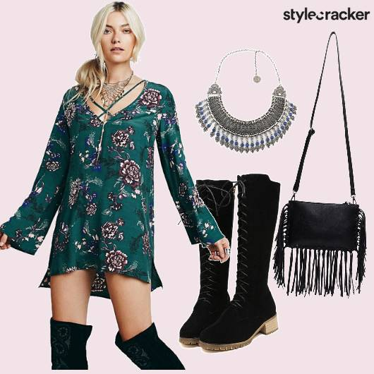 Printed Dress Laceup Boots Fringe Slingbag - StyleCracker