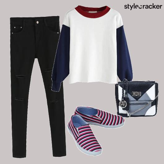 Black Denims Sweatshirt Slipons - StyleCracker