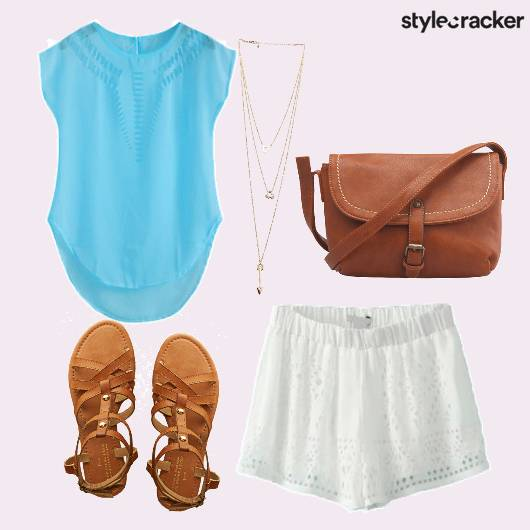 White Shorts  Layered Necklace - StyleCracker