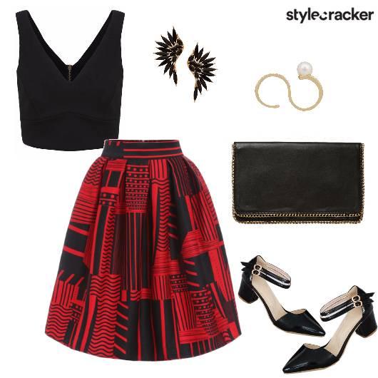 Print Midi Skirt Croptop Promotion Night - StyleCracker