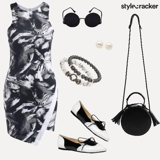 Print Monochrome Dress Day Outdoor - StyleCracker