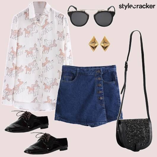 Print Skort MetallicShoes Casual Day - StyleCracker