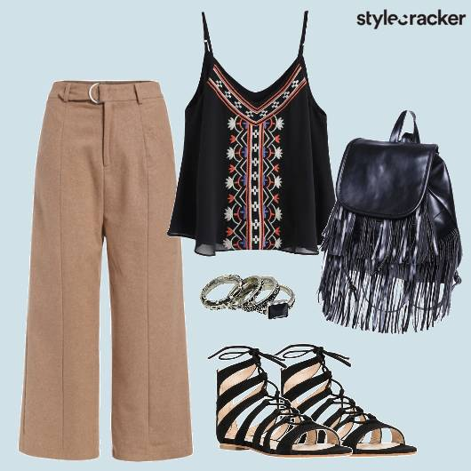 Cami Flared Pants Fringe Backpack Laceups - StyleCracker