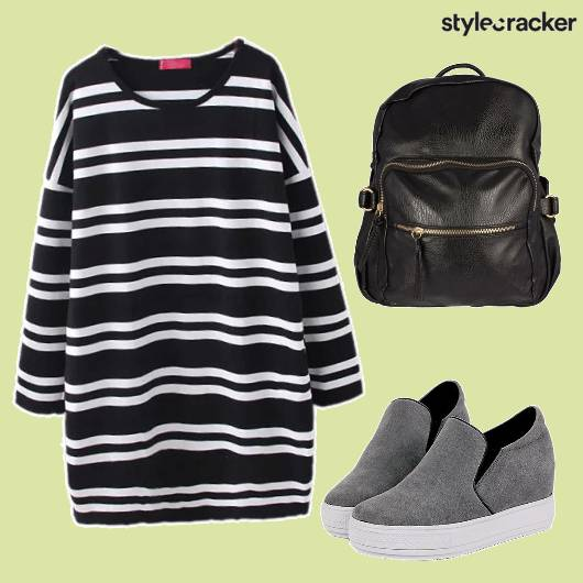 Monochrome Leather Backpack Stripes - StyleCracker