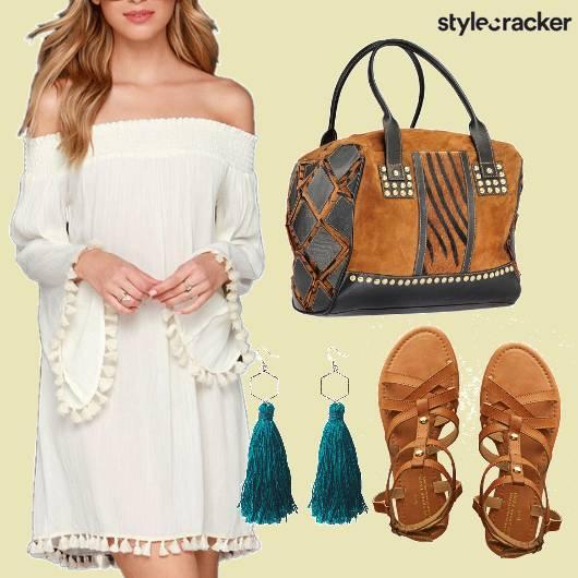 Offshoulder Dress Tassel Earrings Tan Flats - StyleCracker