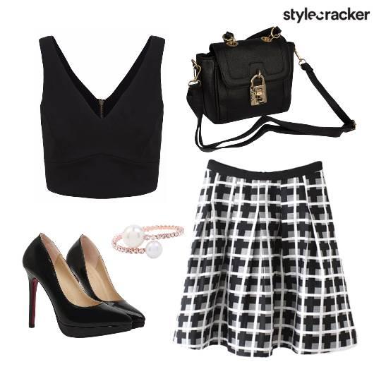 Skirt CropTop Monochrome Dinner - StyleCracker