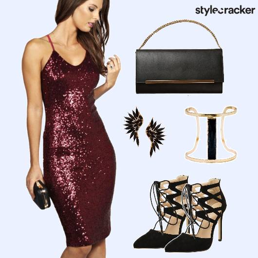 Sequin Dress Laceup Party - StyleCracker
