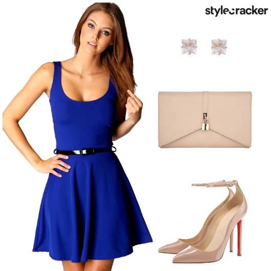 Skater Dress Heels Clutch Studs - StyleCracker