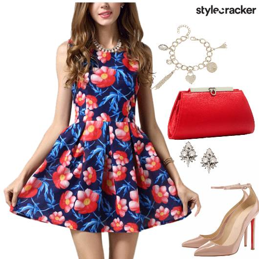Floral Print Dress Necklace Heels  - StyleCracker