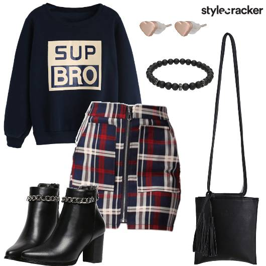 SweatShirt Skirt Plaid Movie  - StyleCracker