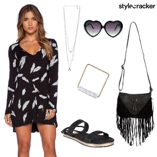 Print Dress Fringe Outdoor Day - StyleCracker