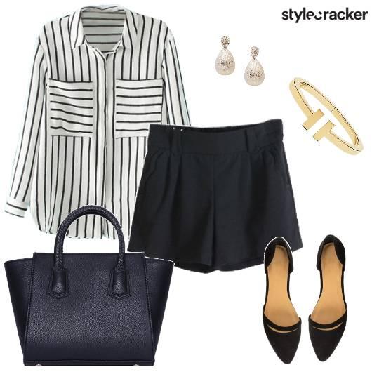 Shirt Short Stripe Work Day - StyleCracker
