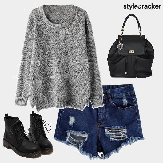 Sweater Shorts Ripped Backpack  - StyleCracker