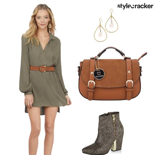 Shirtdress Boots Tan Bag Earrings - StyleCracker