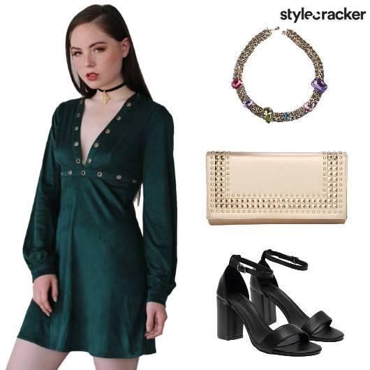 Velvet Dress Clutch Neckpiece Heels - StyleCracker