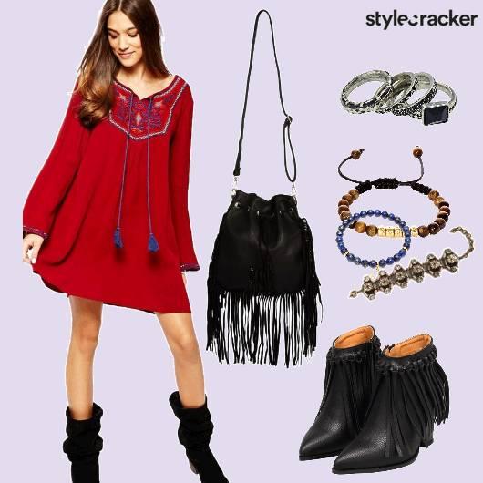 Flare Dress Fringe Boots - StyleCracker