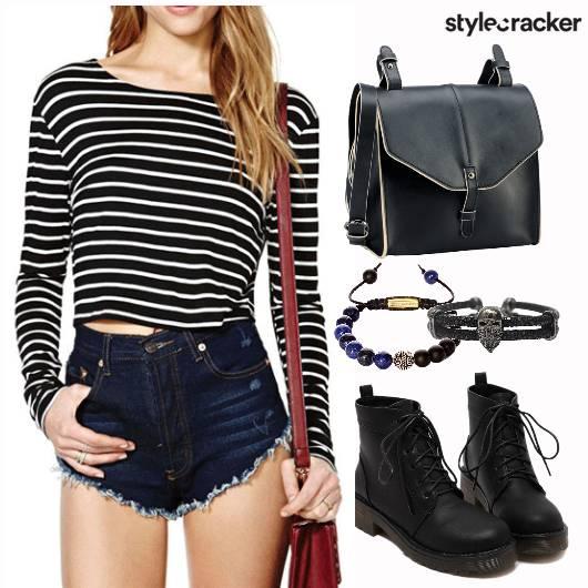 Stripes Monochrome Casual Collegewear - StyleCracker