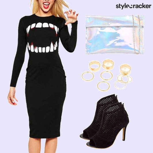 Themeparty Bodycon Dress Hollographic Slingbag - StyleCracker