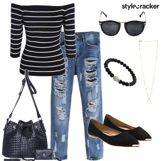 Ripped Jeans Off Shoulder Stripes Outdoor  - StyleCracker