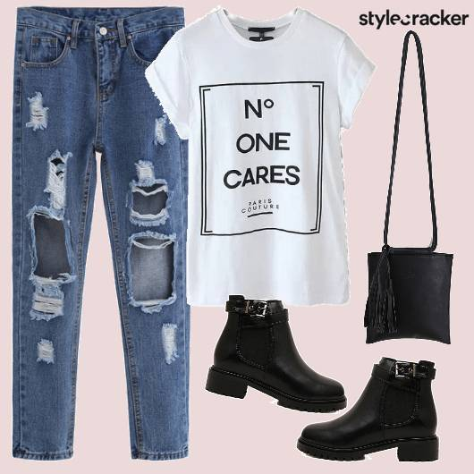 RippedJeans Tshirt Casual Boots  - StyleCracker
