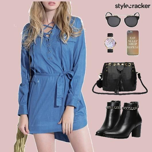 Denim Dress Bag Shoes - StyleCracker