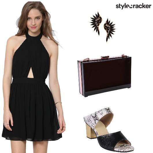 Cutout Dress Black Clutch Earrings - StyleCracker