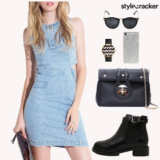 Denim Dress Boots Bag Cafe - StyleCracker