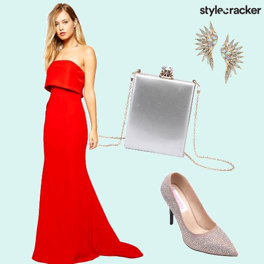 Gown Stilettos Slingbag Earrings  - StyleCracker
