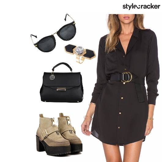 ShirtDress Sunglasses Creepers StatementRing Handbag - StyleCracker