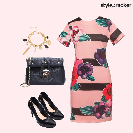 LunchWithTheGirls Floral Dress Sling CharmBracelet Pumps - StyleCracker