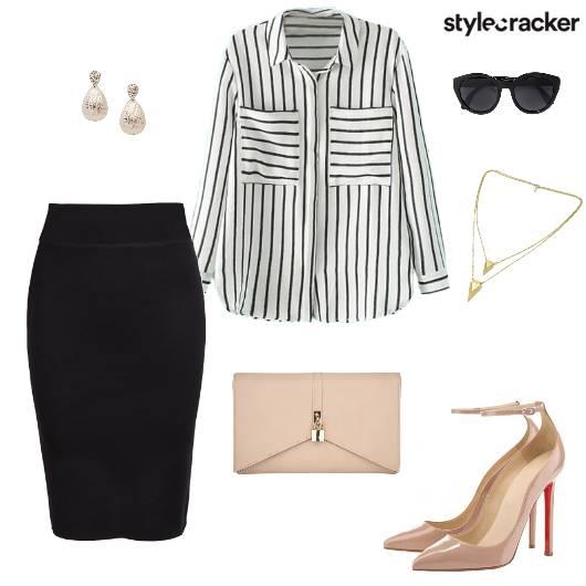 Shirt Pencil Skirt Clutch Heels Sunglasses - StyleCracker