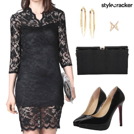 Dress Lace Heels Clutch Earring  - StyleCracker