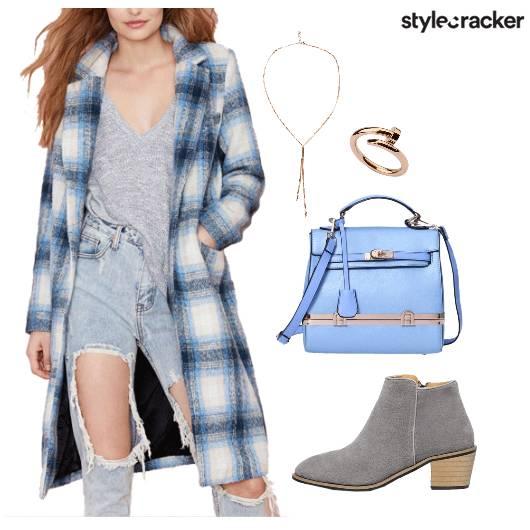 Winter Overcoat Plaids AnkleBoots ShoulderBag - StyleCracker