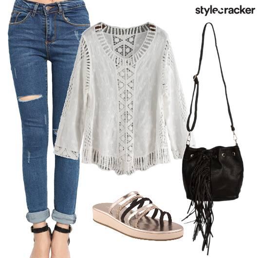 Lace Jeans Fringe Outdoor Day  - StyleCracker