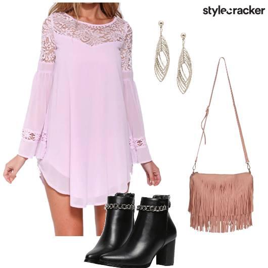 Dress Lace Fringe Boots Party Evening - StyleCracker