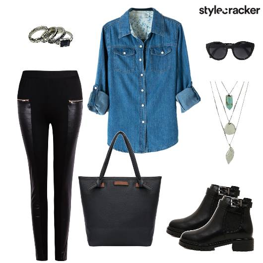 Shirt Leather Pants Boots Tote - StyleCracker