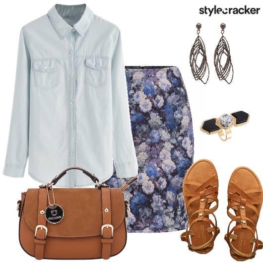 Denim Shirt Floral Evening Outing - StyleCracker