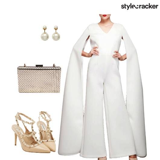 White Jumpsuit Capesleeves Flamboyant  - StyleCracker