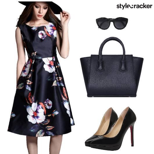 Floral Printed Tote Heels Sunglasses - StyleCracker