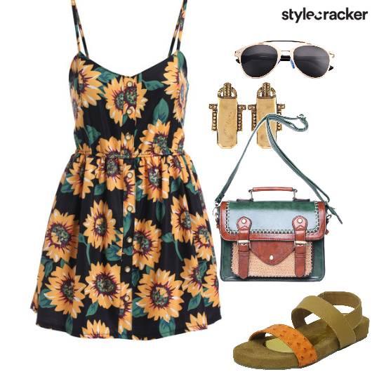 College Sunflower Print Dress - StyleCracker