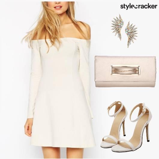 Dress Offshoulder Clutch Stilettos  - StyleCracker