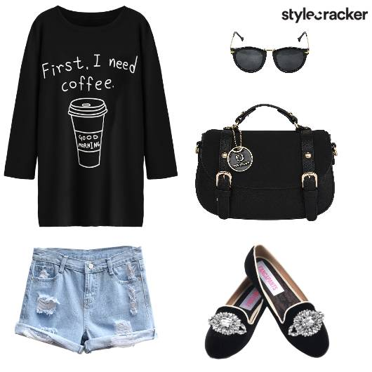 Tshirt Denim Shorts Ballerinas - StyleCracker