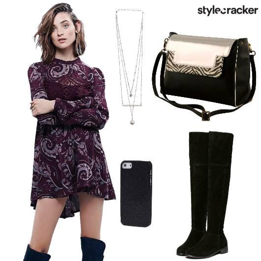 Chain Dress Slingbag Boots - StyleCracker